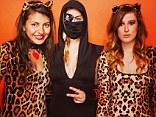 Feline girls: Rumer Willis celebrates Halloween early in leopard costume with friends