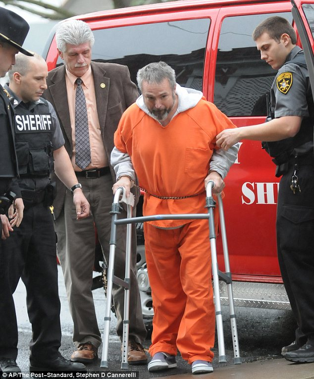 Suspect: Karl Karlsen arriving for a court appearance at the Seneca County Courthouse in Waterloo, New York, last December