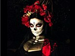 Spooktacular: Fergie just could not wait to show off her Day of the Dead inspire costume, posting a picture of her impressive makeup and gown on Instagram on Friday night