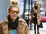 Taking a break from glamour! Jessica Hart masters the messy bun and grunges out in a Van Halen T-shirt... and still looks stunning