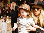 Like mother, like son! Pregnant Rachel Zoe and her adorable tot Skyler set the trend in stylish hats at the pumpkin patch