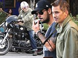 How bromantic! Olivier Martinez enjoys lunch with Eduardo Cruz before zooming home on his motorcycle