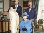 Lineage: The Queen is flanked by William holding George and Charles. The first time a British monarch has been pictured with three heirs since Queen Victoria