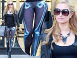 Paris Hilton goes shopping in skeleton leggings