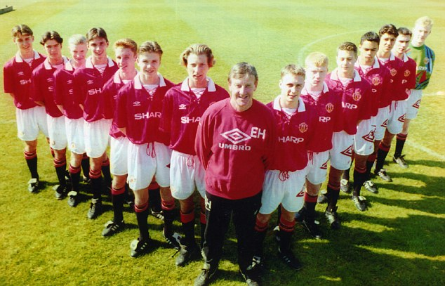 Memory lane: Gillespie (2nd far right) was a member of Manchester United's famous youth team of the 90s that featured David Beckham, Paul Scholes, Gary Neville and Nicky Butt