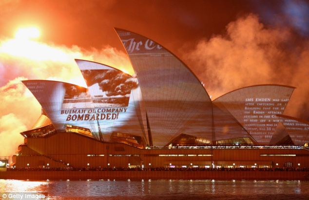 Lit up: The Sydney Opera House looks magnificent during the display