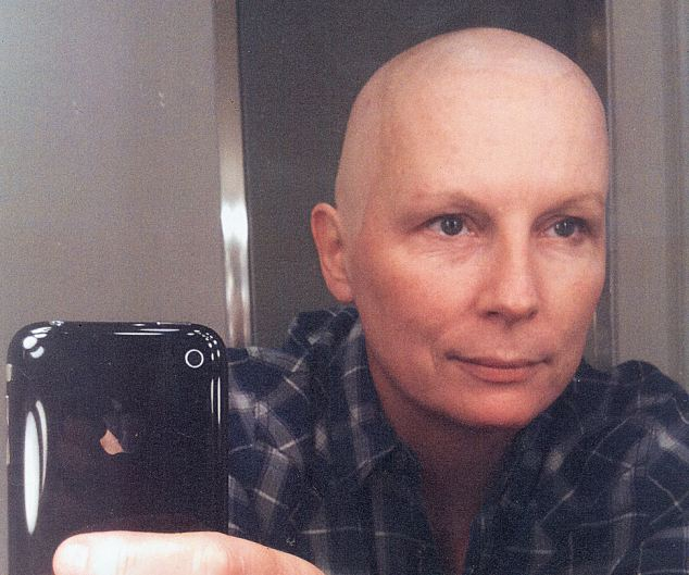 Suffering: Jennifer Saunders took this candid shot of herself during treatment for breast cancer