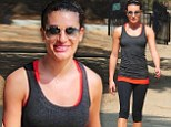 Each day gets better: Lea Michele smiled as she enjoyed a hike with a gal pal in Los Angeles, California on Friday