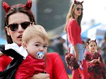 No angel here! Alessandra Ambrosio dresses as the Devil for daughter's Halloween festival as her children look like little Lucifers
