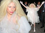 Lady Gaga is seen here arriving at her London Hotel wearing a spooky white lace dress outfi