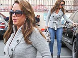 Whittling away! Leah Remini displays her amazingly slimmed down figure in skintight jeans at DWTS practice