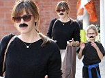 That disguise isn't going to fool anyone! Jennifer Garner and daughter Violet go undercover with stick-on fake mustaches