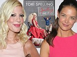 'She was a plastic robot who can't sing for s**t': Tori Spelling slams old friend Katie Holmes in her new tell all