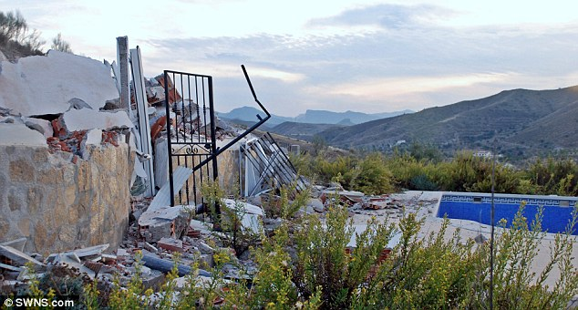 Ruins: The remains left after the British couple had their villa in Andalusia knocked down because it was built without permission