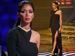 Nicole Scherzinger wears a sweeping black gown on The X Factor