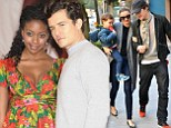Actors Condola Rashad (L) and Orlando Bloom appear for the