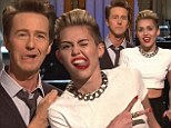 'You've got to stick your tongue out like this!' Miley Cyrus breaks into the act to teach Ed Norton her 'rules for hosting' SNL