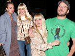 Popular gal: Anna Faris was wrapped up by Kaley Cuoco and her husband Chriss Pratt during a double date on Saturday in West Hollywood, California