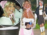 Guten tag! Fraulein Goldie Hawn and partner Kurt Russell don Lederhosens as they attend daughter Kate Hudson's star-studded annual Halloween party