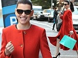 Orange IS the new black! Julianna Margulies steps out in SoHo in style in a full length sienna colored coat