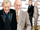 Two of a kind! Best friends Sir Ian McKellen and Sir Patrick Stewart pose back-to-back as they ham it up before hosting seminar