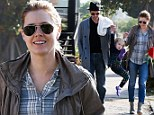 One, two...and three! Amy Adams and partner Darren Le Gallo have their hands full with precious pixie Aviana as she takes flight in Los Feliz