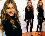 Colombian charmer: Sofia Vergara accentuated her figure in a pair of tight leather trousers to attend Modern Family Fan Appreciation Day hosted by USA Netwoork in Los Angeles, California on Monday
