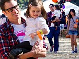 That's a good daddy! Johnny Knoxville bonds with his adorable daughter Arvo as he takes his family to the pumpkin patch... after Bad Grandpa tops the box office
