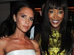 Happier times: Naomi Campbell and Victoria Beckham pose together at an event to honour 25 years of London Fashion Week at Caprice in London on September 21, 2009