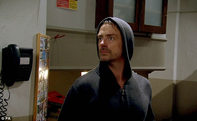On the loose: Murderer Cameron (Dominic Power) arrives back in the dales to track down his ex fiancee Debbie Dingle