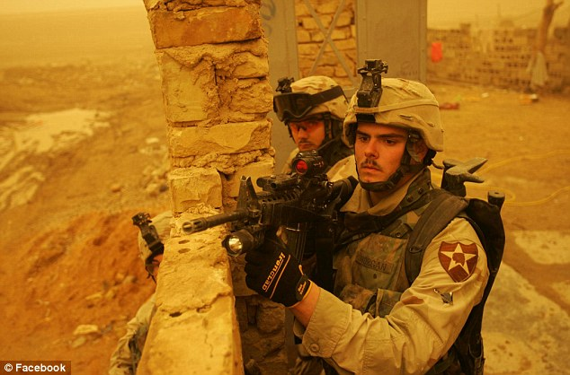 Warrior: Morgan (right) returned from Iraq in 2005, suffering from physical injuries and severe post-traumatic stress disorder that triggered in him suicidal thoughts