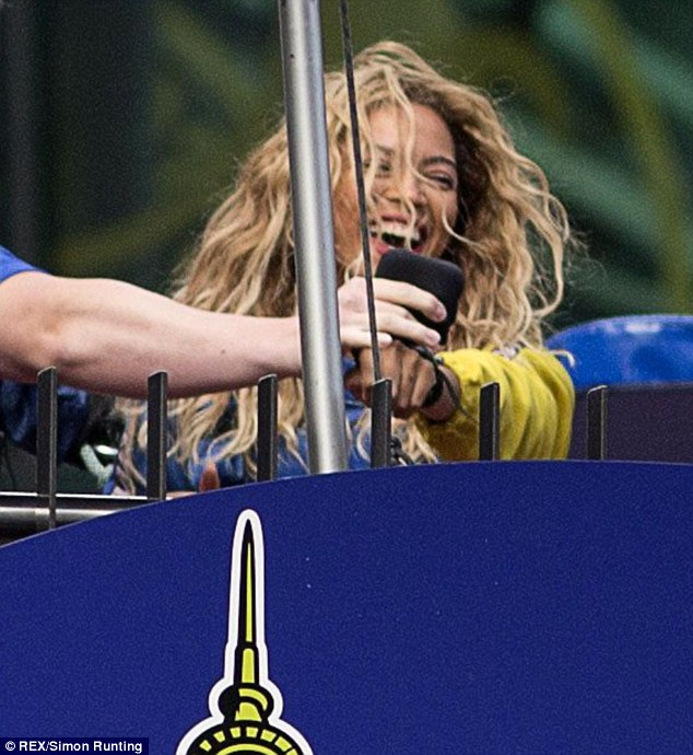 She's so excited: And Beyonce just could not hide it as she talked to a radio crew afterwards