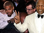 Man of peace: Former boxing champion Mike Tyson, shown in August in Las Vegas, told a radio station on Tuesday that he was worried about rapper Chris Brown