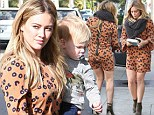 Hilary Duff bares her toned legs in mini-dress after family lunch with son Luca and husband Mike Comrie