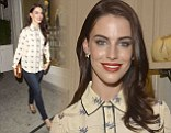 No harm, no fowl: Newly-single Jessica Lowndes looks chipper in a bird-print blouse at fashion party