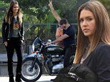 Jessica Alba looks out of her element as she transforms from preppy chic to biker chick to film motorcycle scenes with excited Pierce Brosnan