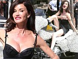 What's the real cause here? Janice Dickinson flirtatiously posed on a glittering trike for an anti-bullying campaign in Los Angeles, California on Monday