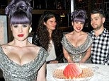 Birthday belle! Kelly Osbourne dazzles with sexy sequined dress and her purple hair in curls as she celebrates with fiancé Matthew Masshart and brother Jack