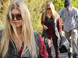 Back to normal! Slimmed down Fergie stuns in red leather trousers on casual outing with husband Josh Duhamel