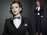 Nigella Lawson appeared at once severely lovely and a trifle reminiscent of Oscar Wilde in a man's dinner jacket