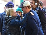 Just for laughs! Amy Poehler gives pointers AND hugs to her co-director Louis C.K. on the set of new show Broad City