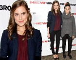 Someone clearly put in more effort... Allison Williams, left, appeared much more glammed up than Zosia Mamet, right, as the two attended The New Group Benefit Reading of Crimes Of The Heart in New York on Monday