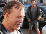 Must be all those endorphins! Hollywood hellraiser Mickey Rourke sports a huge smile as he leaves Beverly Hills gym