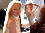 'Had such a great time on set today!' Lindsay Lohan tweets behind-the-scenes snaps from glamorous photoshoot