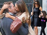 The 60-year-old actor kissed the 32-year-old actress on set of How To Make Love Like An Englishman in Los Angeles, California on Wednesday.
