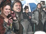 Josh Hartnett and Billie Piper share a laugh on Dublin set of Penny Dreadful despite getting caught in a downpour