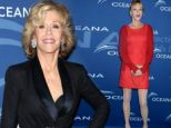 Melanie Griffith ruins her pretty cocktail dress with frumpy cardigan and tights... as Jane Fonda makes a trouser suit sexy
