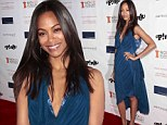 Newly married Zoe Saldana dazzles in a plunging dress at charity dinner... but leaves husband Marco Perego at home