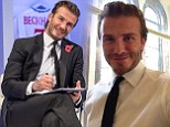 Delfie respect: David Beckham shares a special digital signature with fans at Facebook's Offices in Sao Paulo and New York on Wednesday