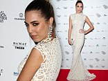 Amber Le Bon wows in white webbed dress and stylish top knot for ceremony at the V&A